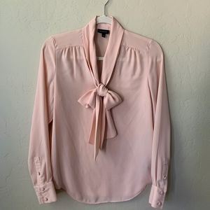 Blush Pink Bow Tie Blouse with Button Cuff Sleeve